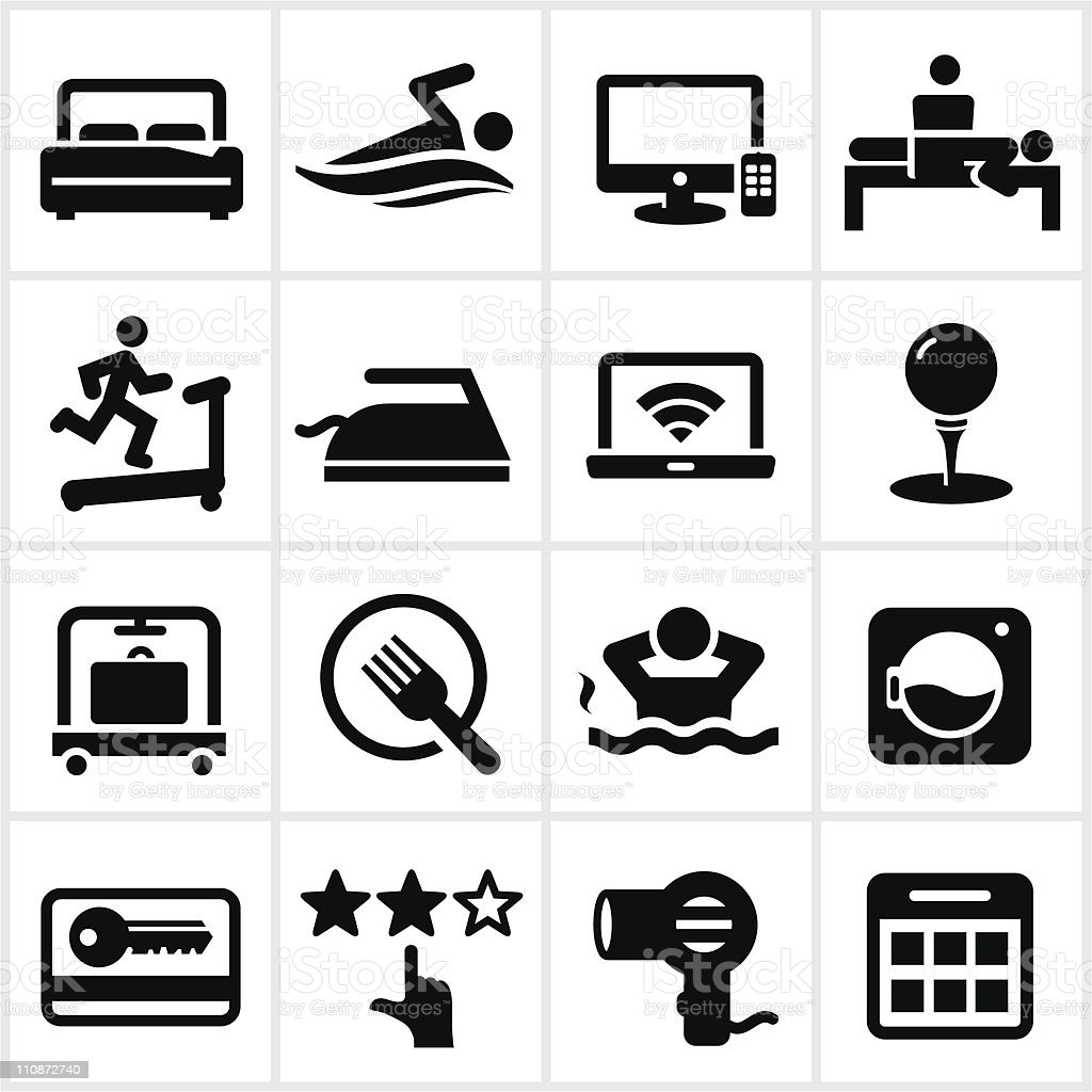 Black Hotel Icons royalty-free stock vector art