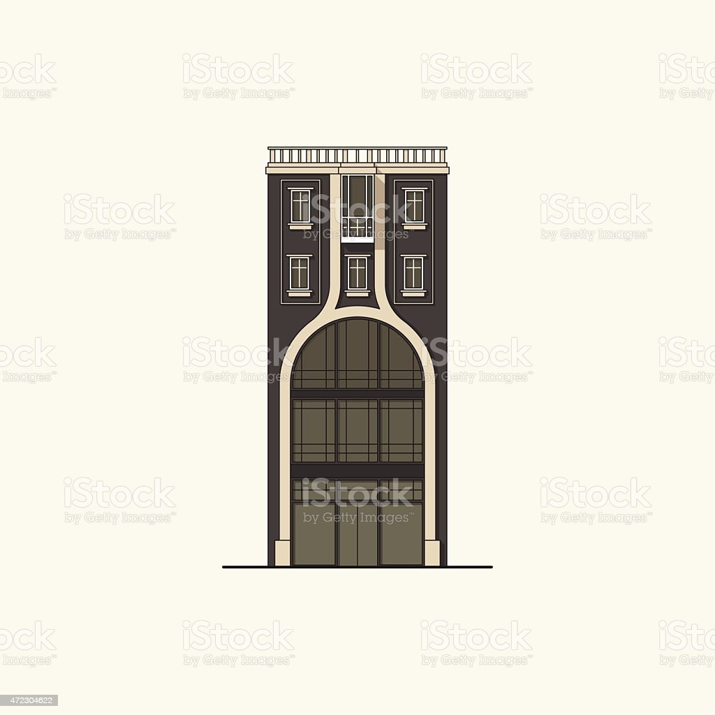 Black house with a shop vector art illustration