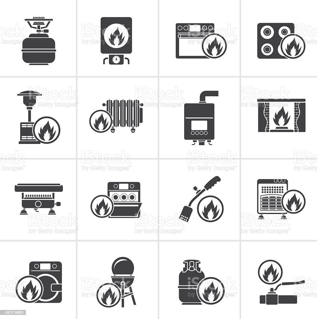 Black Household Gas Appliances icons vector art illustration