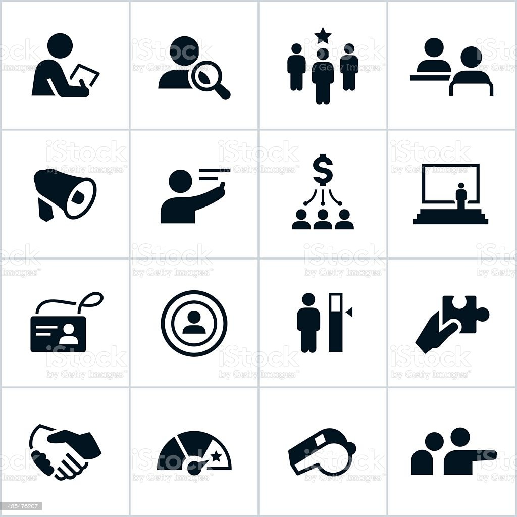 Black Human Resources Icons vector art illustration