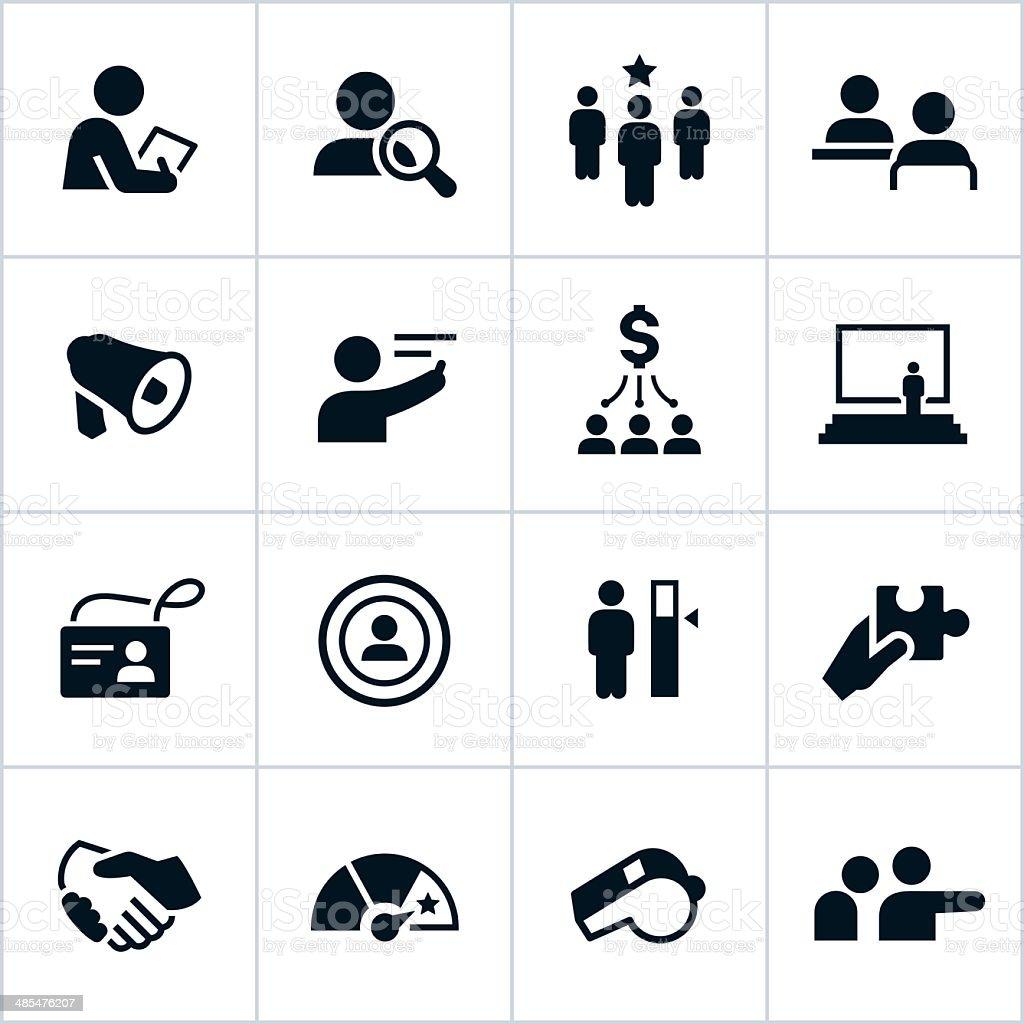 Black Human Resources Icons vector art illustration