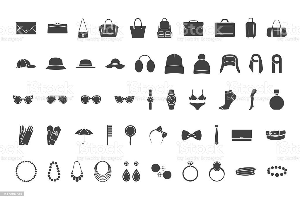 Black icons accessories: bags, hats, jewelry, glasses vector art illustration