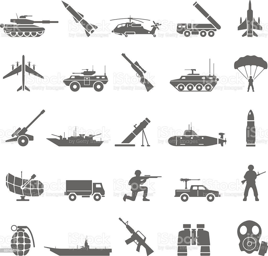 Black Icons - Army vector art illustration