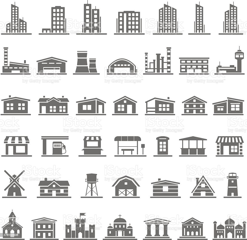 Black Icons - Buildings vector art illustration