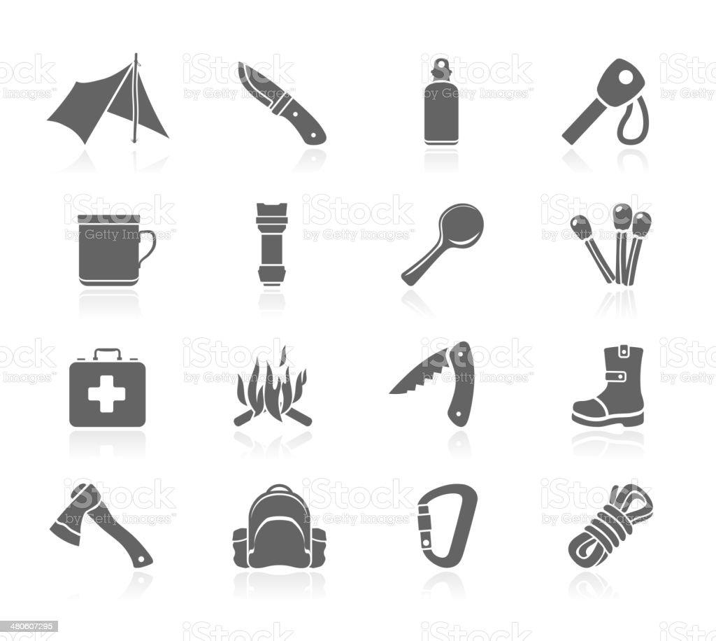Black Icons - Bushcraft vector art illustration