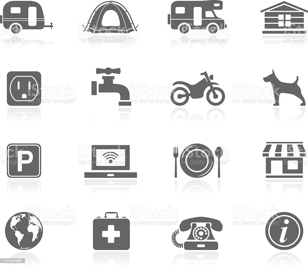 Black Icons - Camping vector art illustration