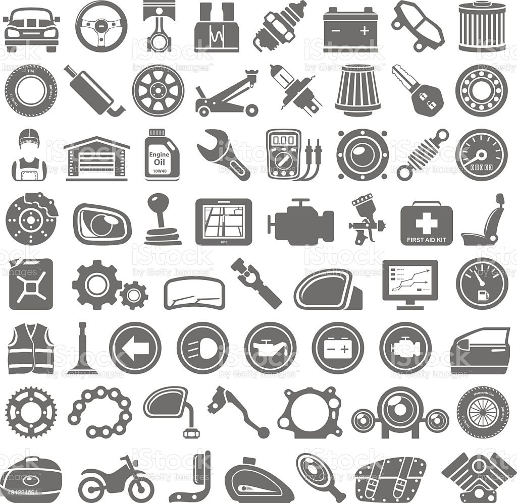Black Icons - Car and Motorcycle Parts vector art illustration