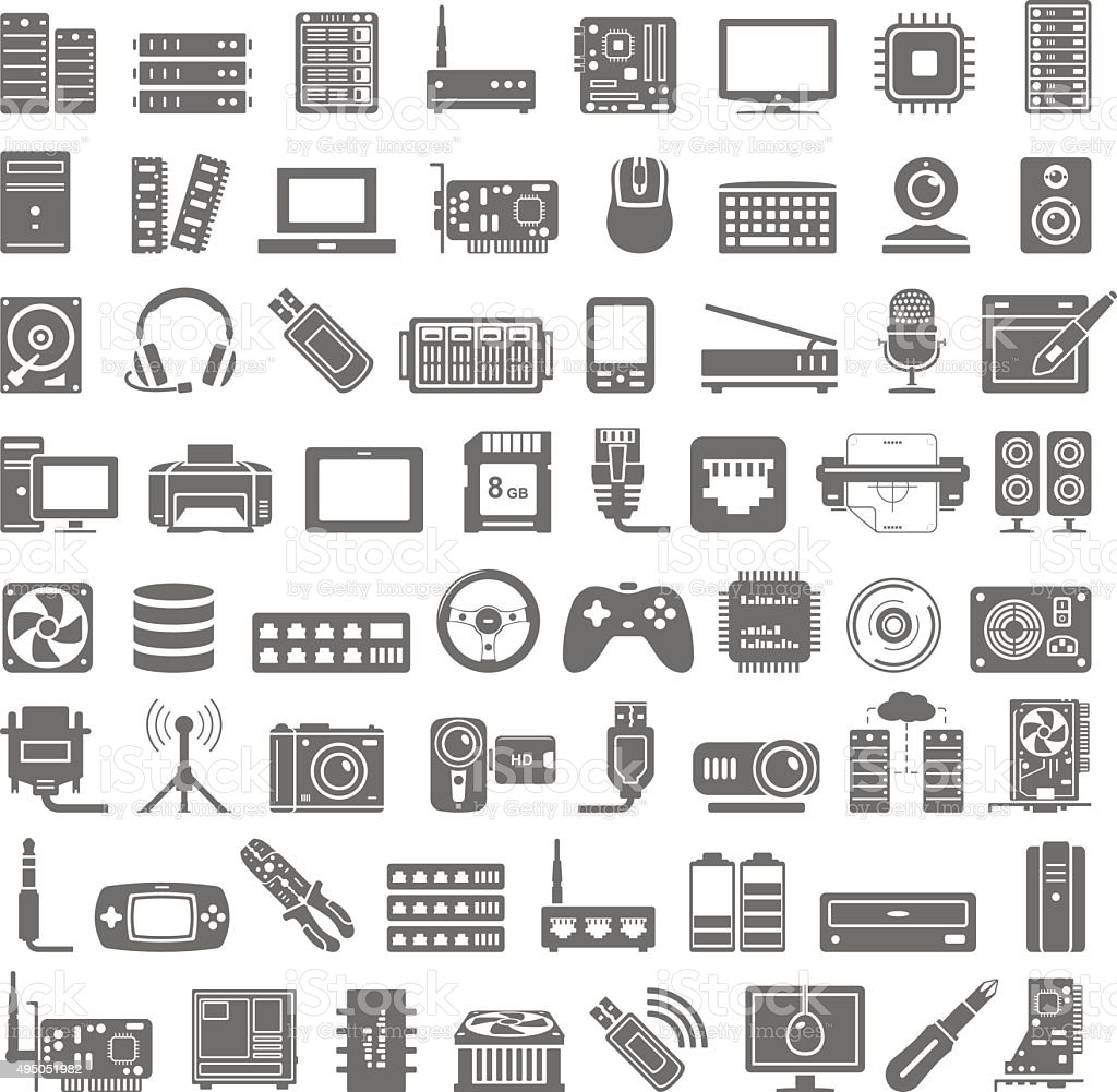 Black Icons - Computer and Network Hardware vector art illustration