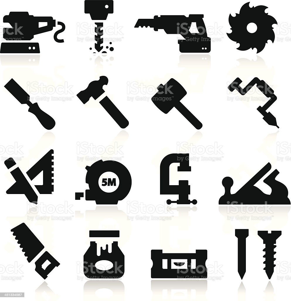 16 black icons depicting tools vector art illustration