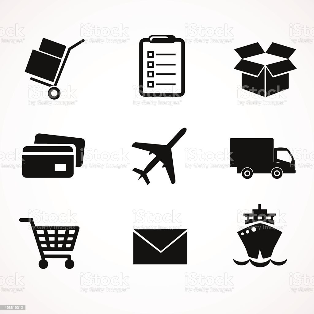 Black icons displaying different delivery methods on white vector art illustration