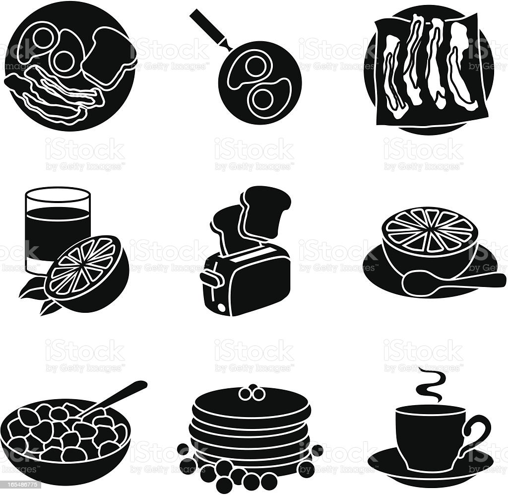 Black icons displaying various breakfast foods vector art illustration