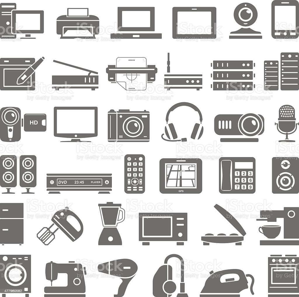 Black Icons - Electronic Devices vector art illustration
