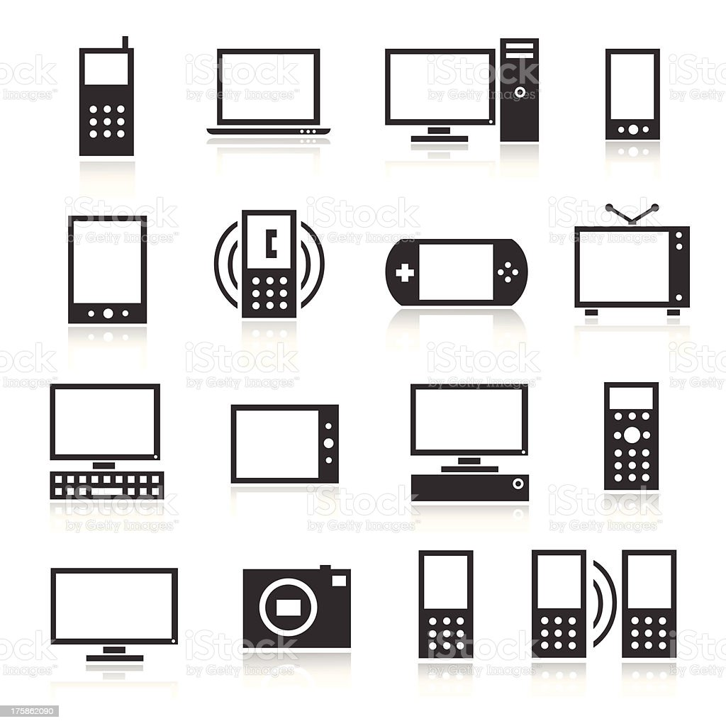 Black Icons Electronics royalty-free stock vector art