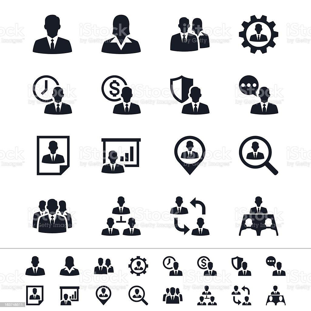 Black icons for human resource management vector art illustration