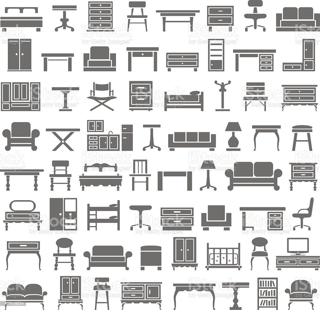 Black Icons - Furniture vector art illustration