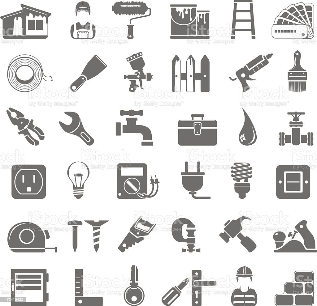 Black Icons - House painting and home repair vector art illustration