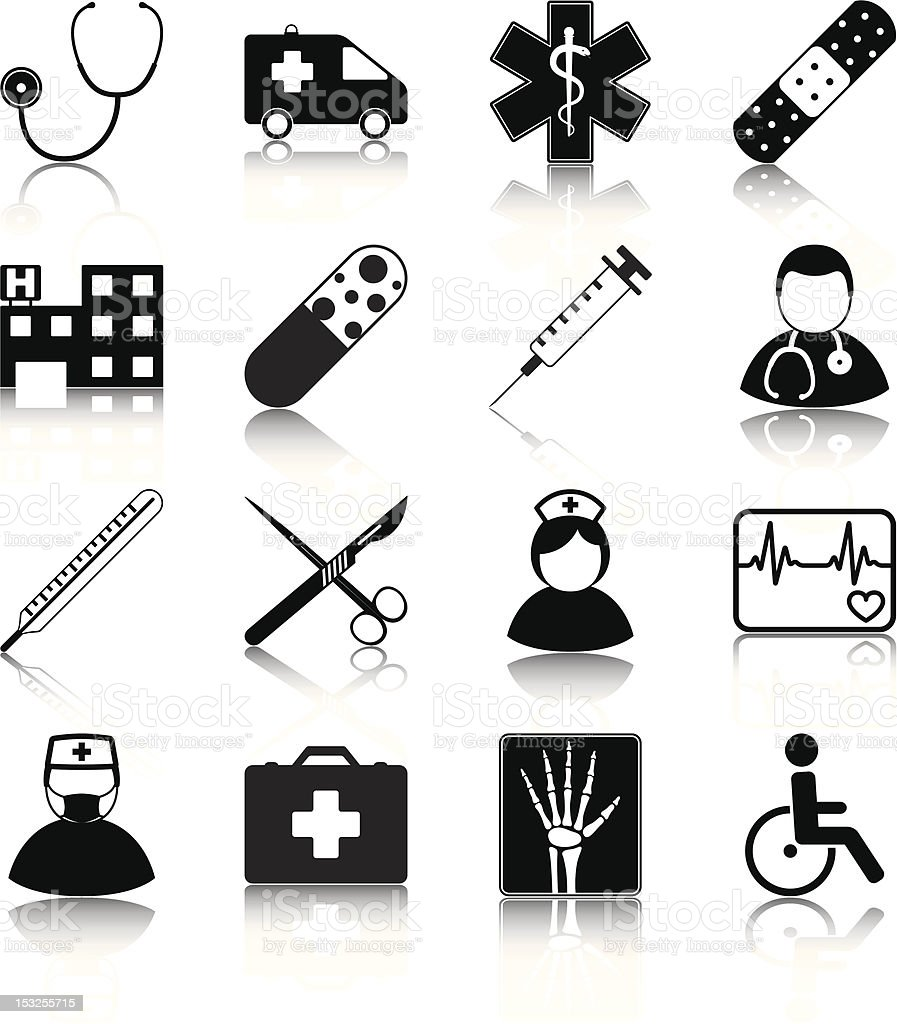 Black icons in rows that all pertain to the hospital royalty-free stock vector art