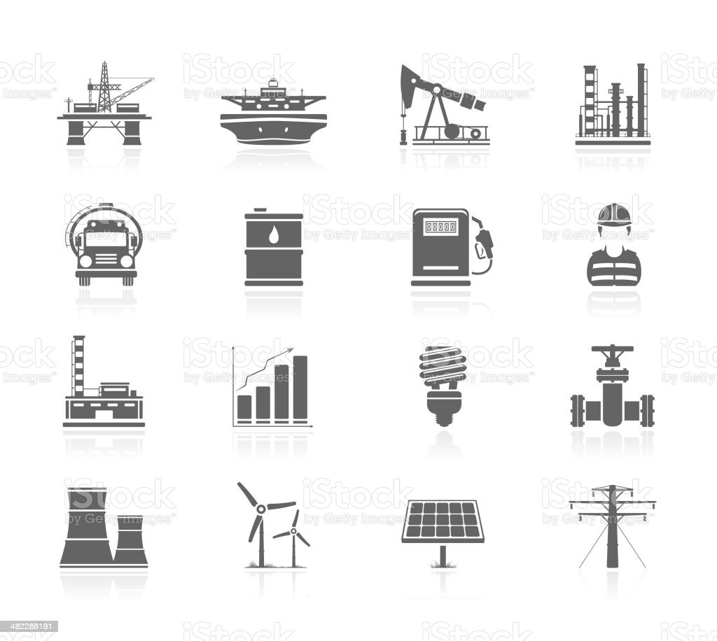 Black Icons - Industry And Energy vector art illustration