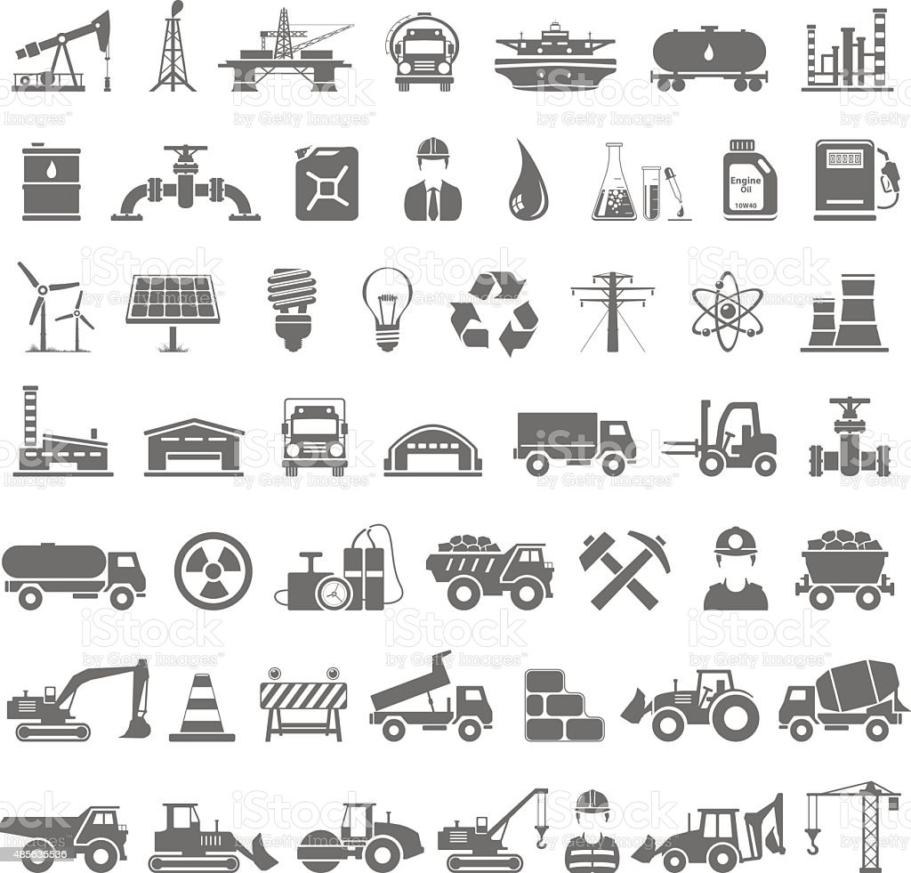 Black Icons - Industry, Energy, Construction vector art illustration