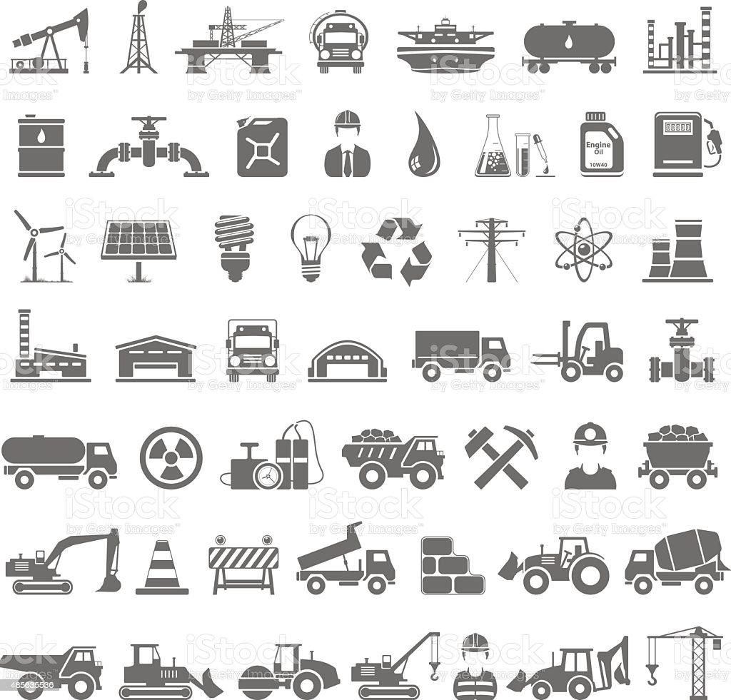Black Icons - Industry, Energy, Construction vector art illustration