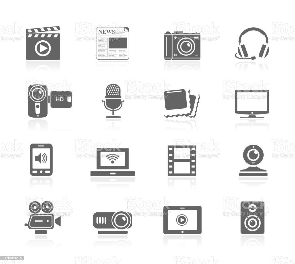 Black Icons - Multimedia vector art illustration