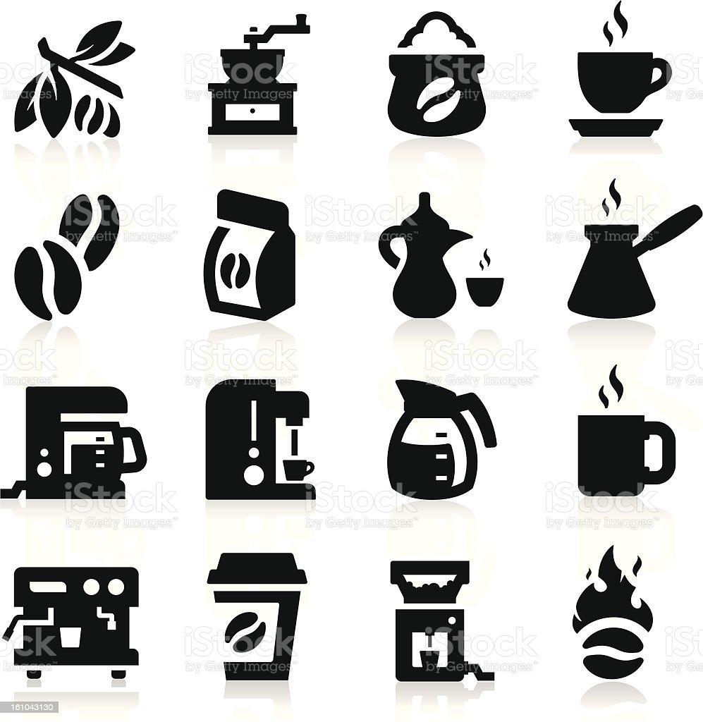 Black icons of kitchen appliances on a white background vector art illustration