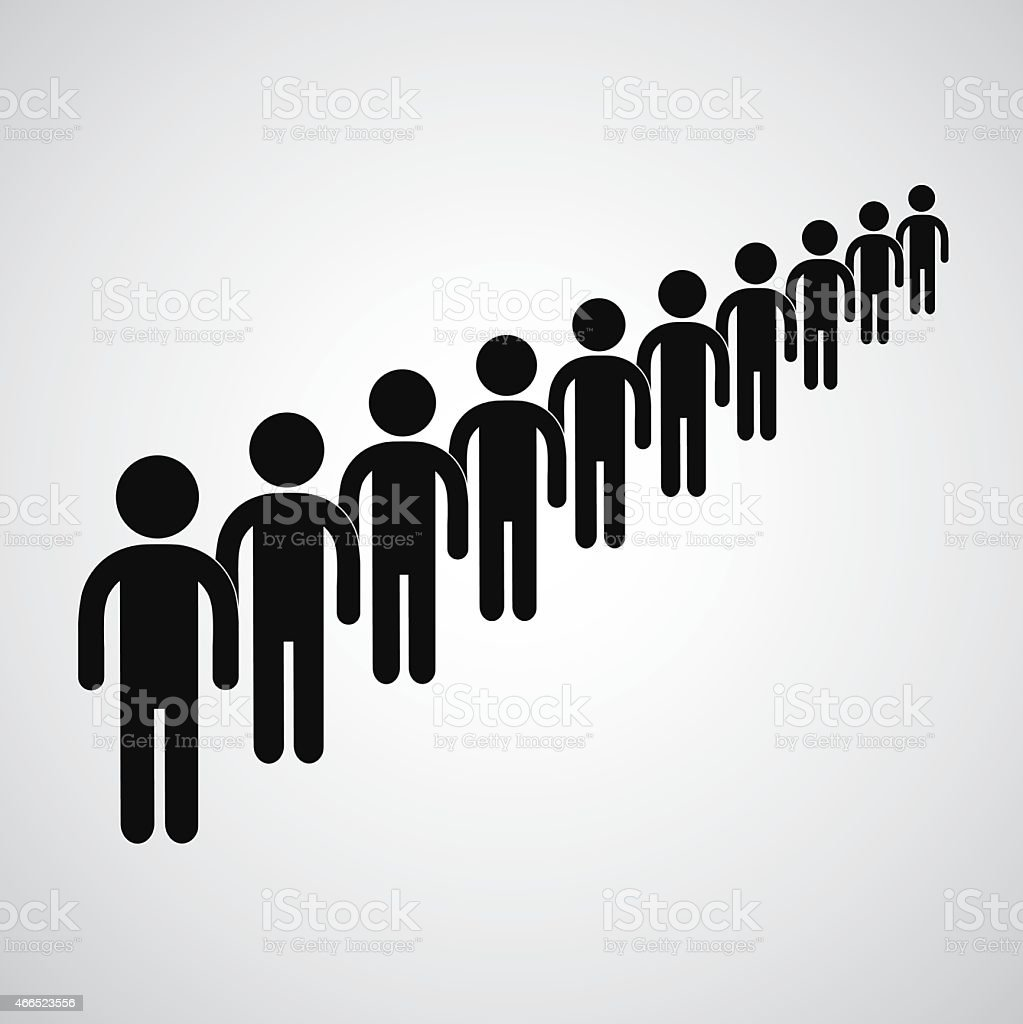 Black icons of people waiting in a long queue vector art illustration