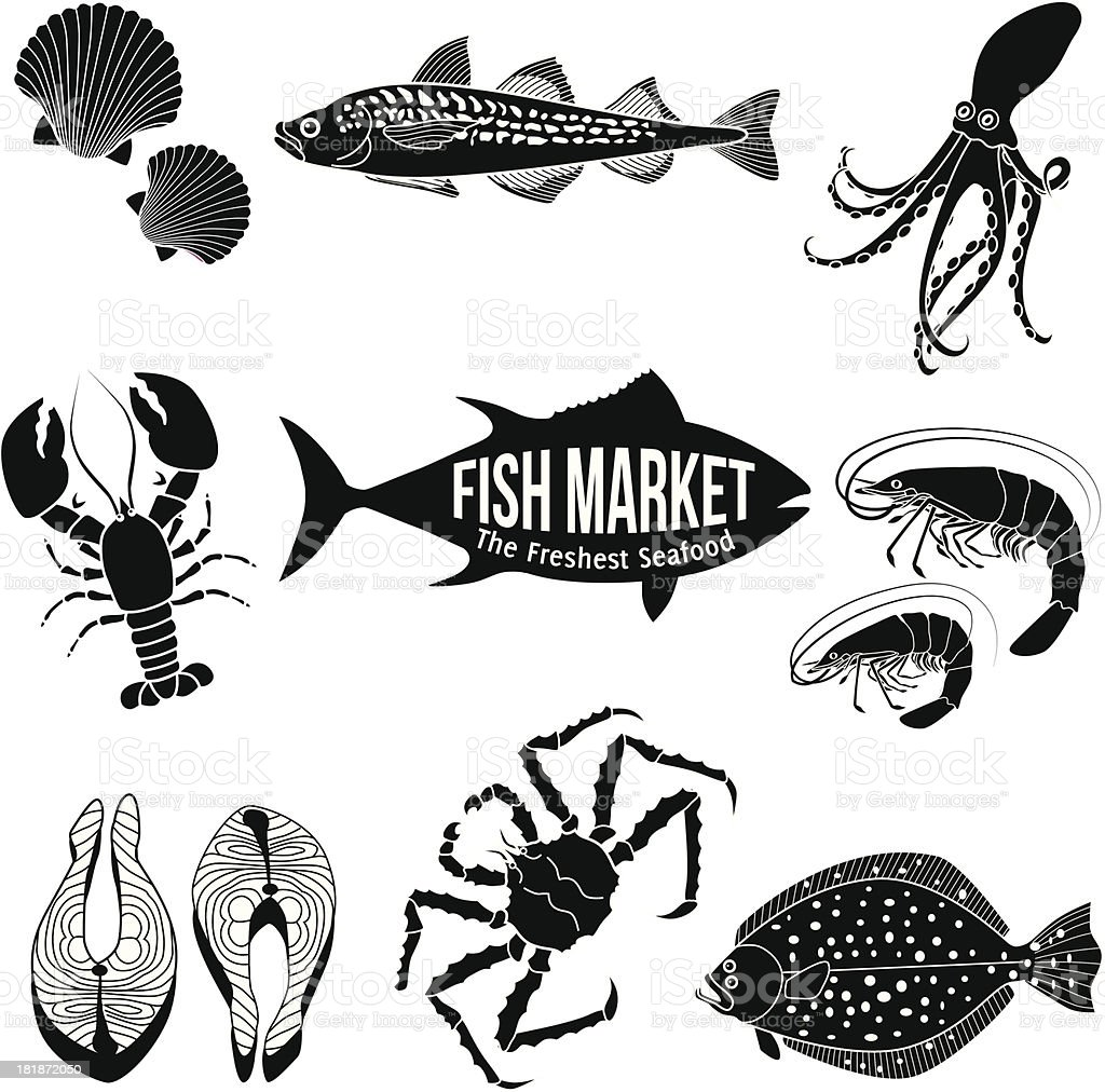 Black icons of various seafood on black background royalty-free stock vector art