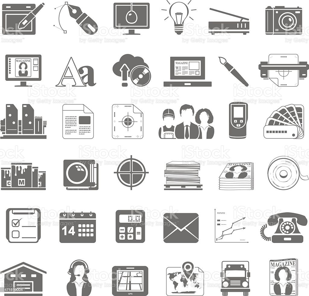 Black Icons - Offset Printing vector art illustration