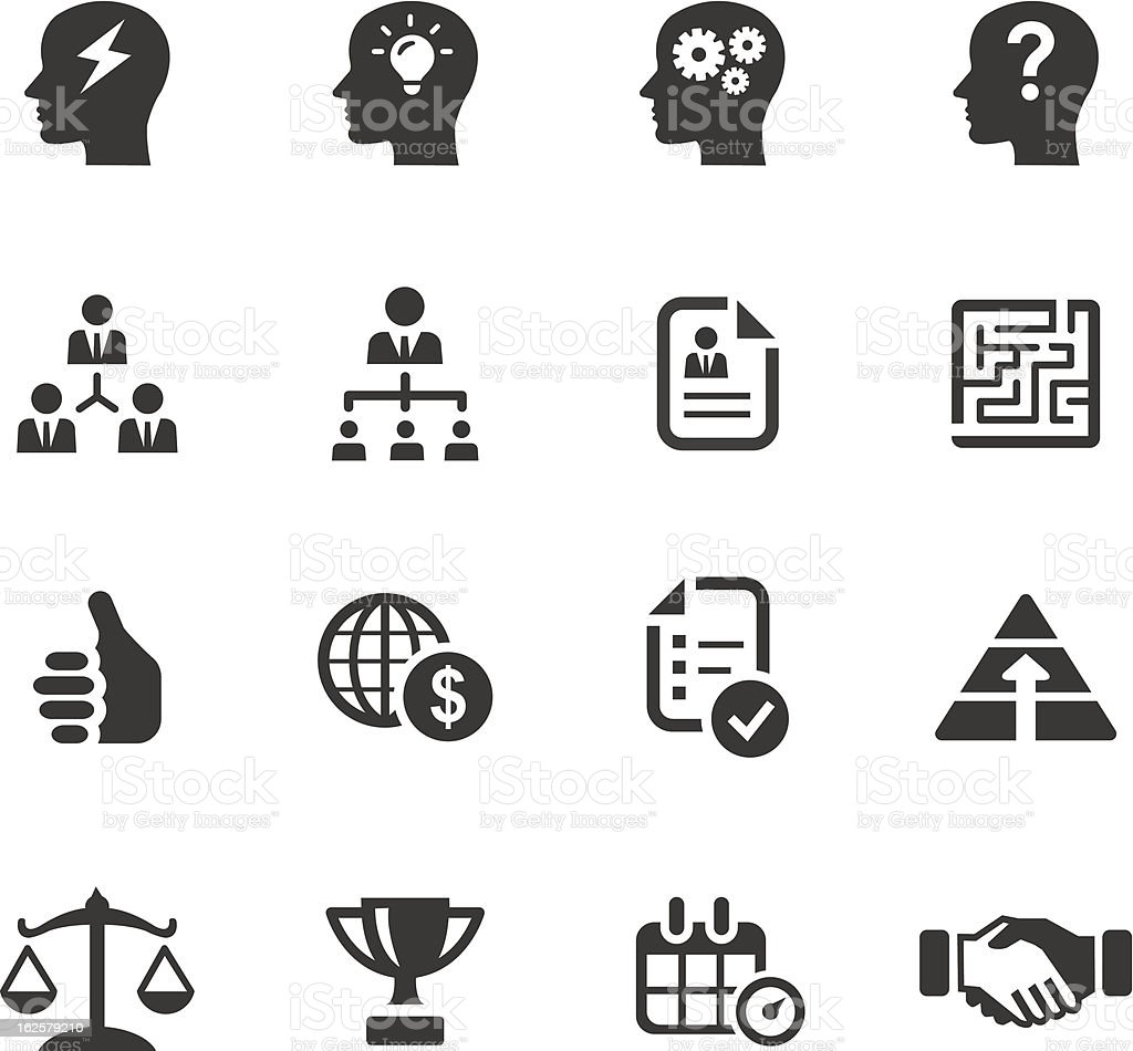 Black icons related to business and management vector art illustration
