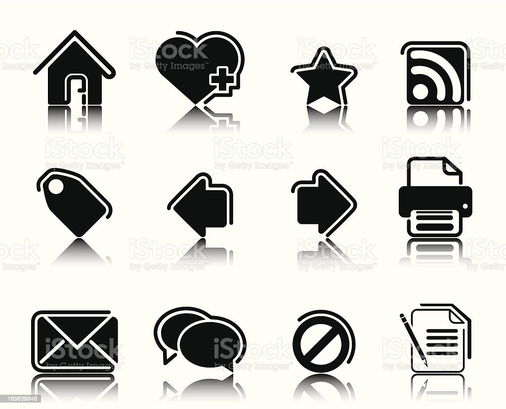 Black Icons vector art illustration