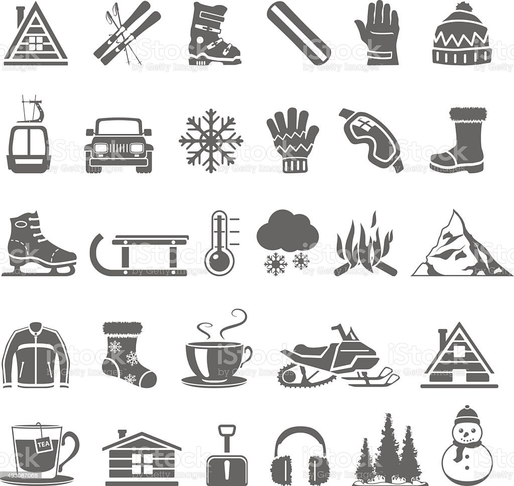 Black Icons - Winter vector art illustration