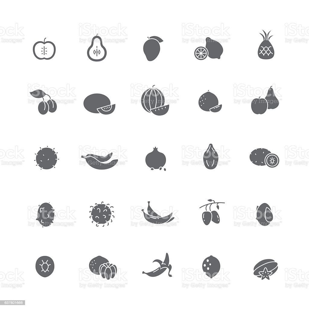 Black icons with different fruits. vector art illustration