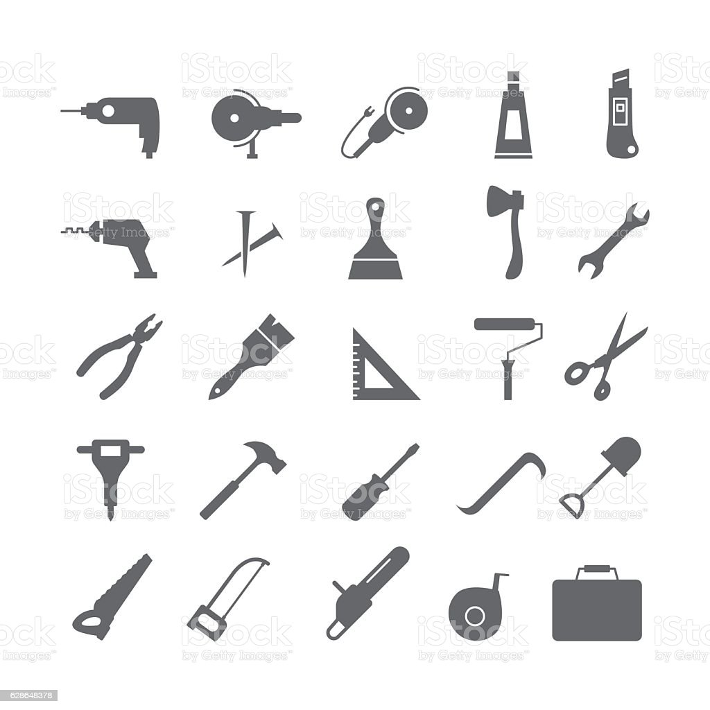 Black icons with tools vector art illustration