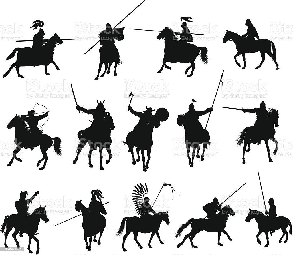 Black illustrations of horsemen vector art illustration