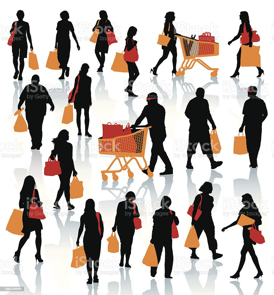 Black illustrations of people shopping with colored bags royalty-free stock vector art