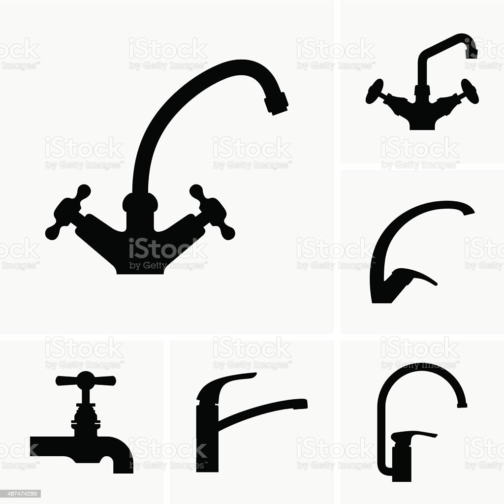 Black illustrations of water taps on a white backdrop vector art illustration