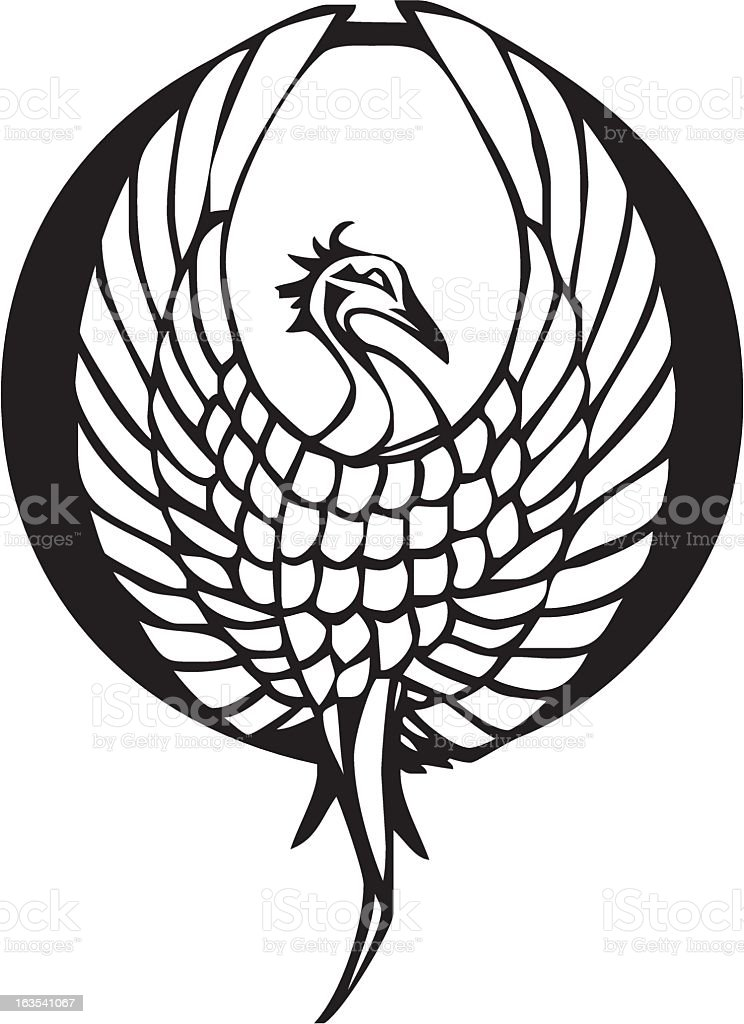 A black image of a Phoenix on a white background vector art illustration