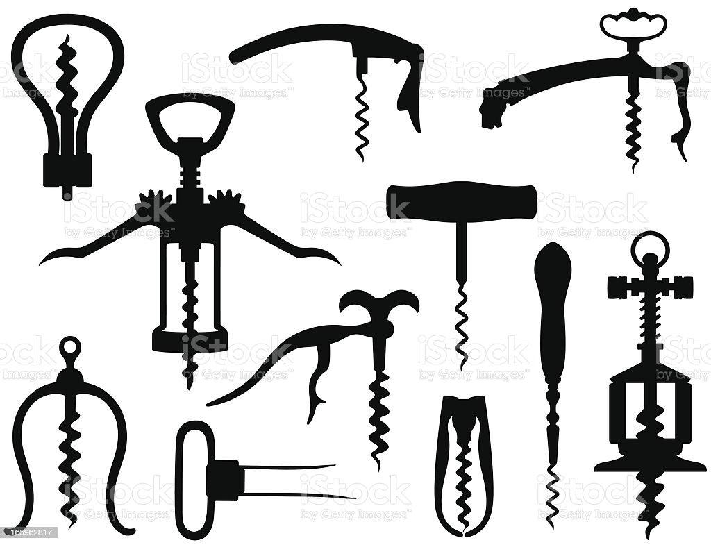 Black images of corkscrews against white background vector art illustration