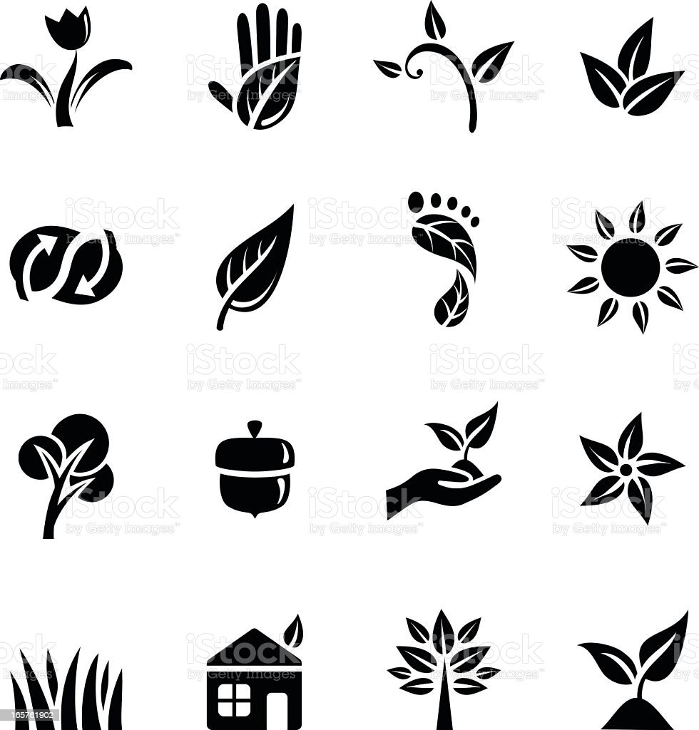 Black images of environmental icons vector art illustration