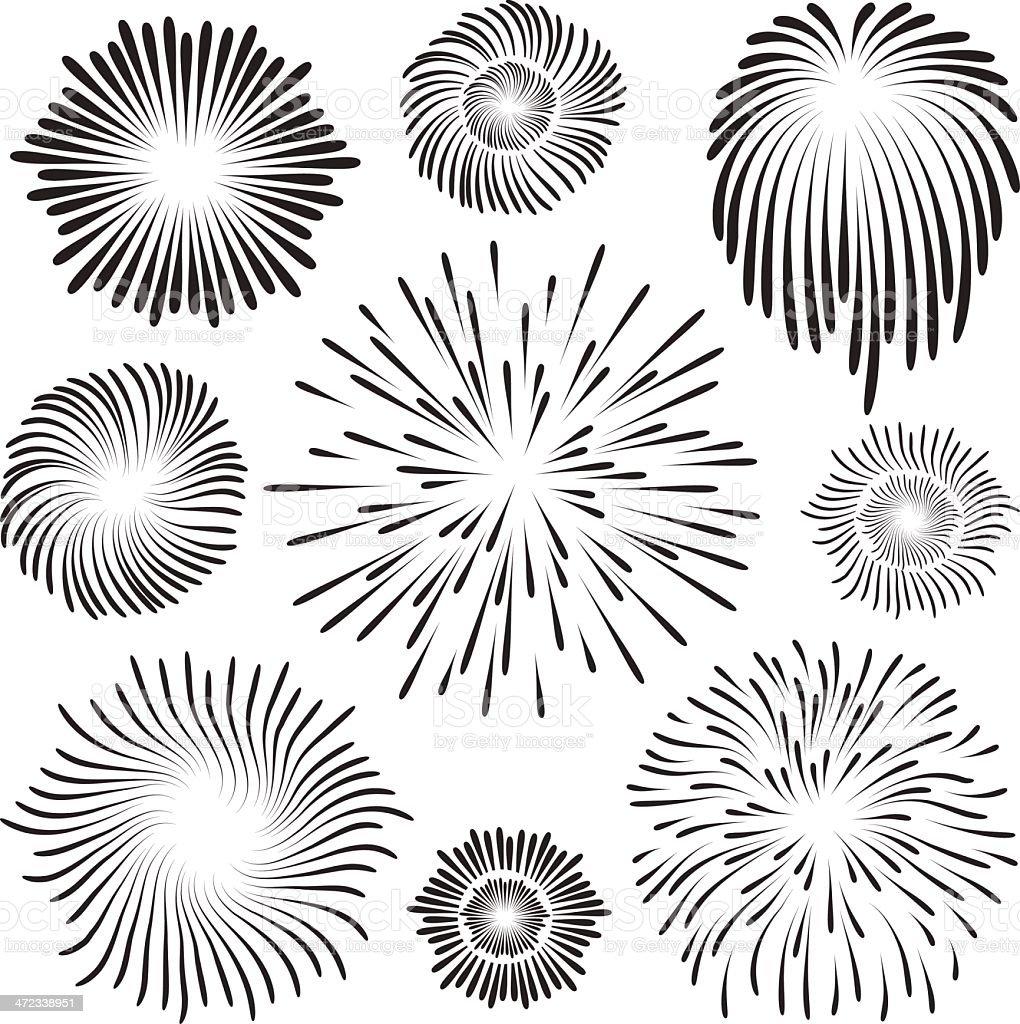 Black images of exploding fireworks against white background vector art illustration