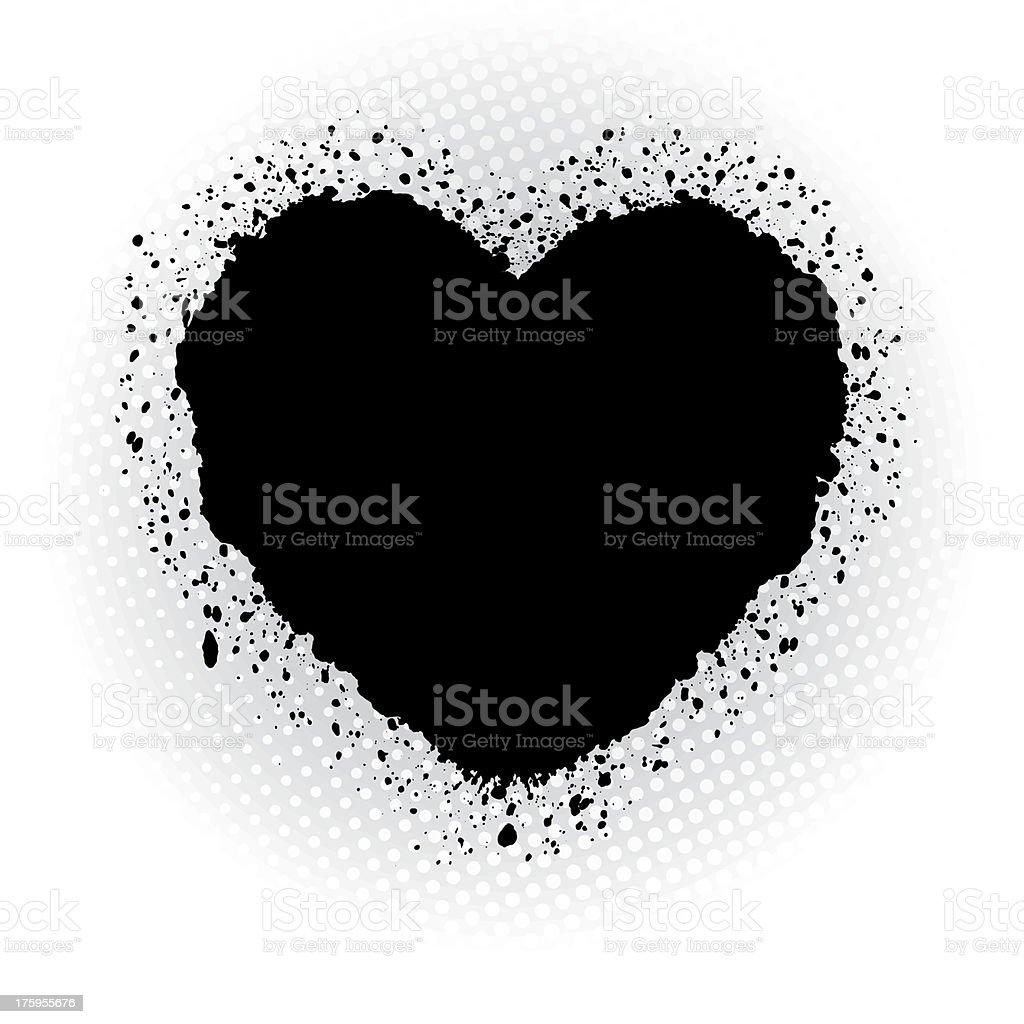 Black ink heart. royalty-free stock vector art