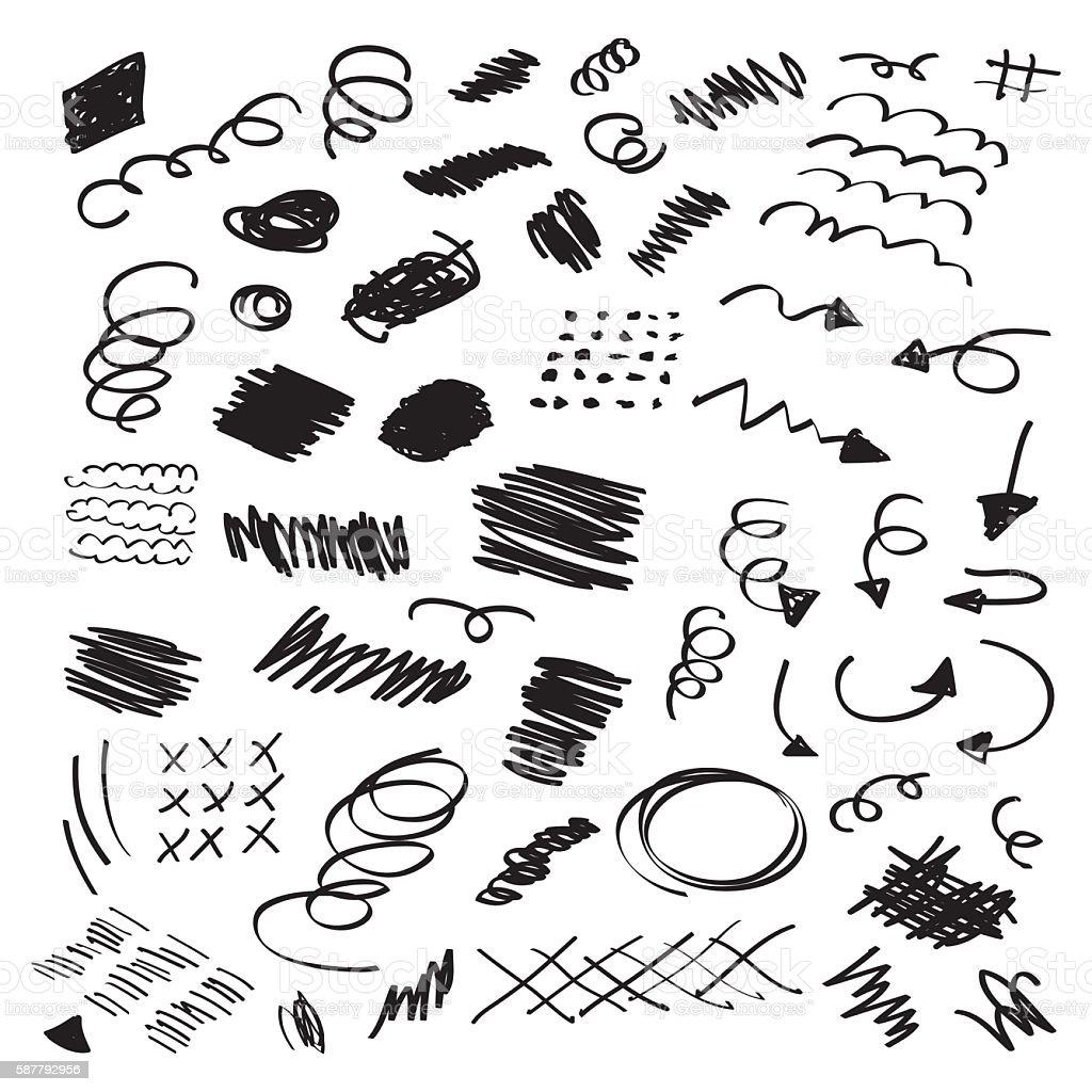 Black ink random hand drawn scribbles set on white background vector art illustration
