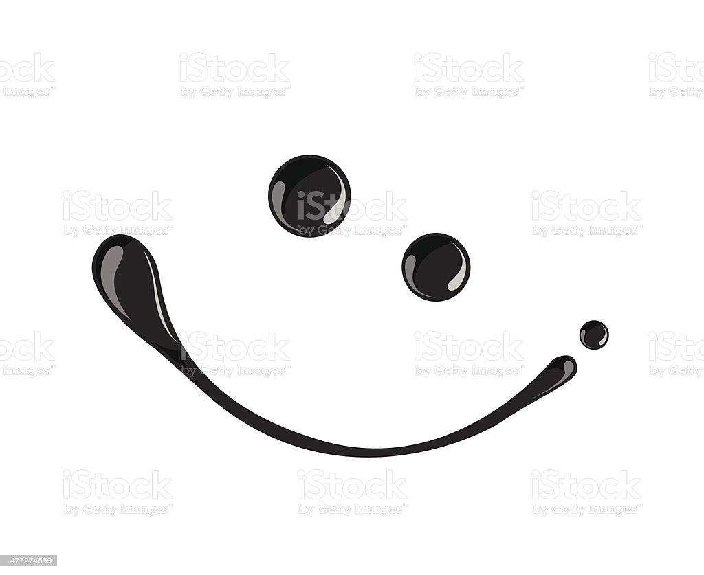 Black ink smile symbol vector  dark,oil vector art illustration