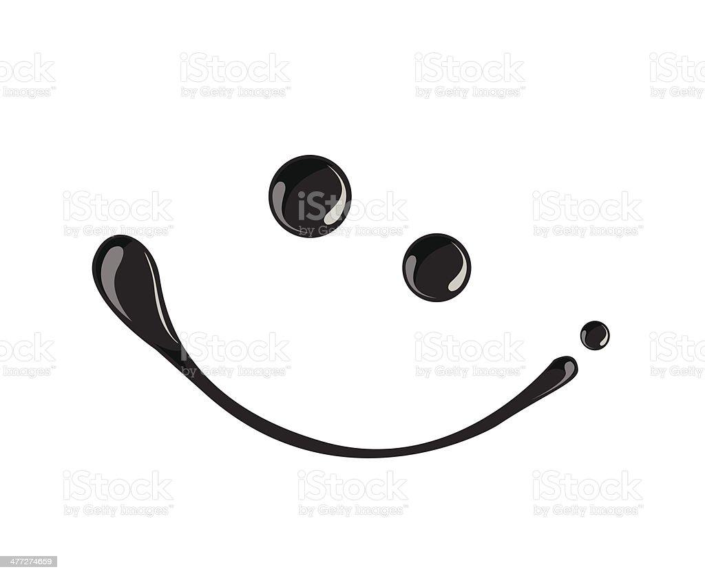 Black ink smile symbol vector  dark,oil vector art illustration
