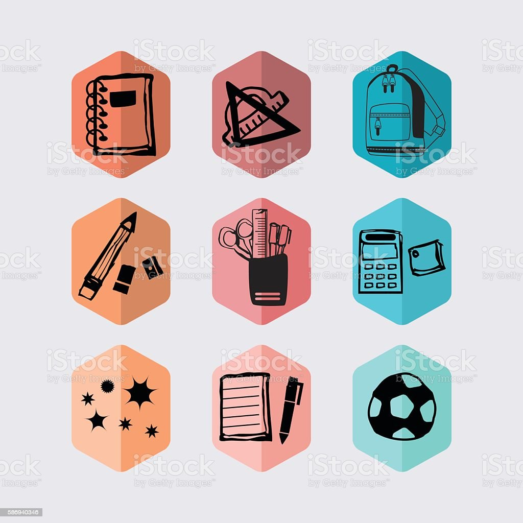 Black inky hand-drawn school supplies and stationery hexagon icons set vector art illustration