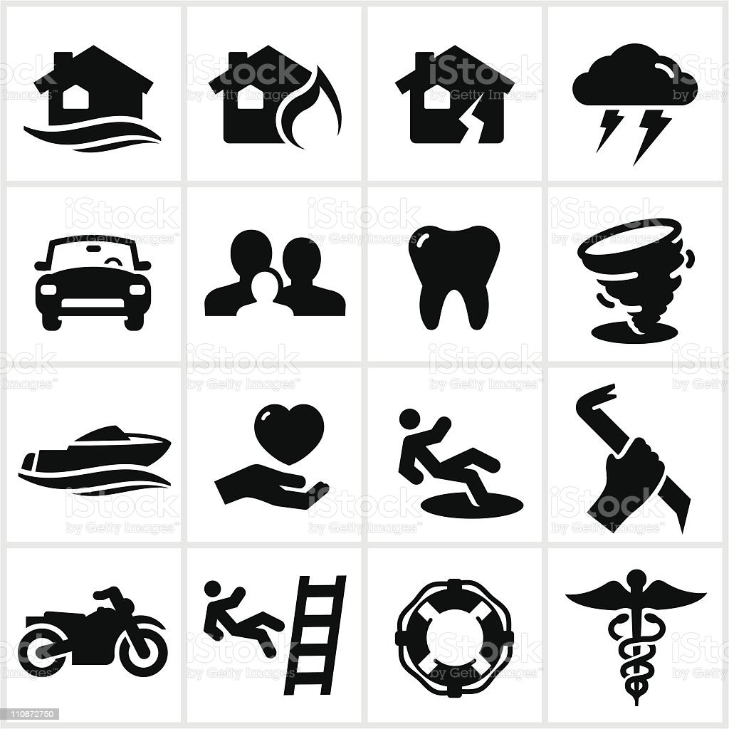 Black Insurance Icons royalty-free stock vector art