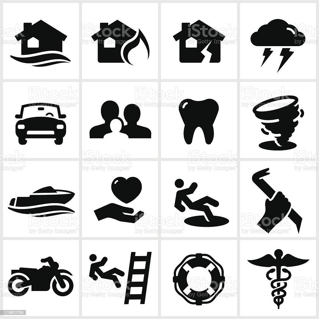 Black Insurance Icons vector art illustration