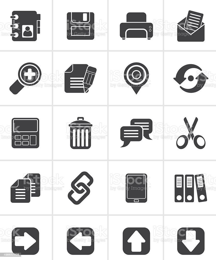 Black internet Interface Icons vector art illustration