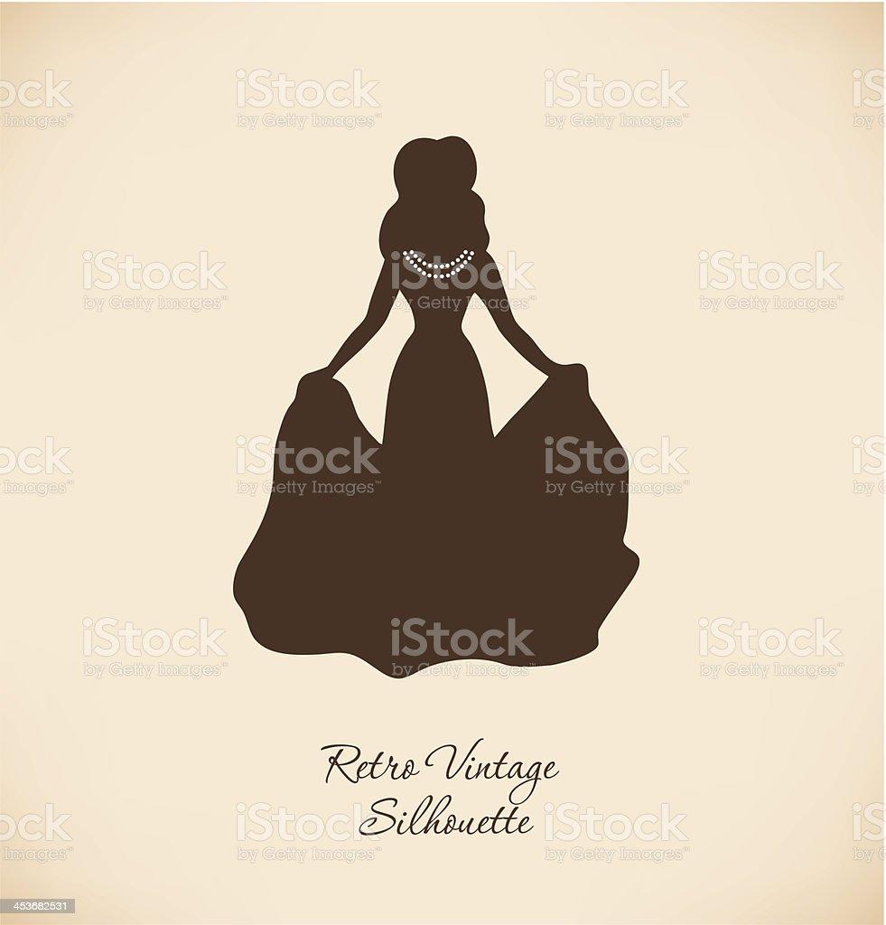 Black isolated woman silhouette vector art illustration